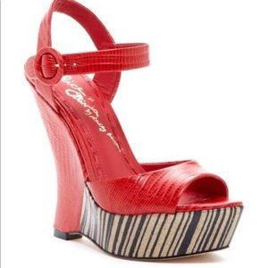 Alice & Olivia Red Croc Wedges Sandals